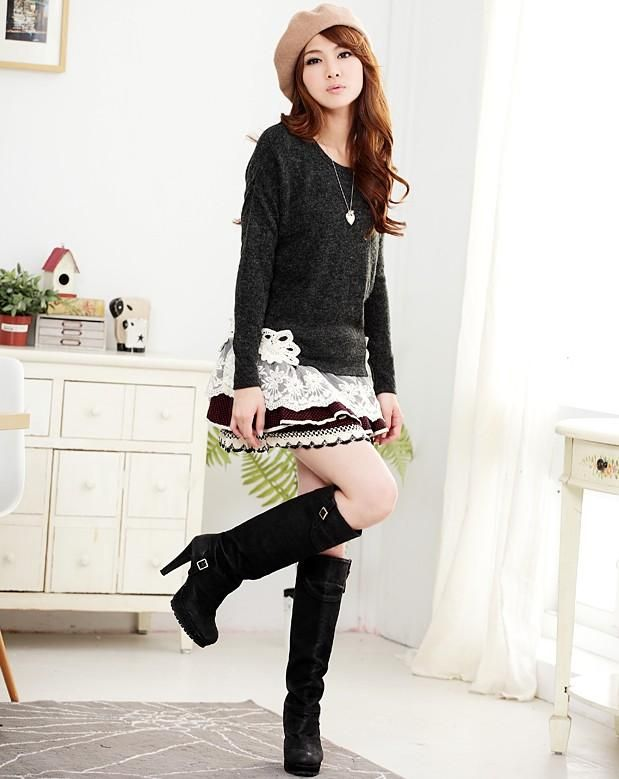 Black long sleeves cute korean fashion sweater with fashionable lace | fashion | Pinterest ...