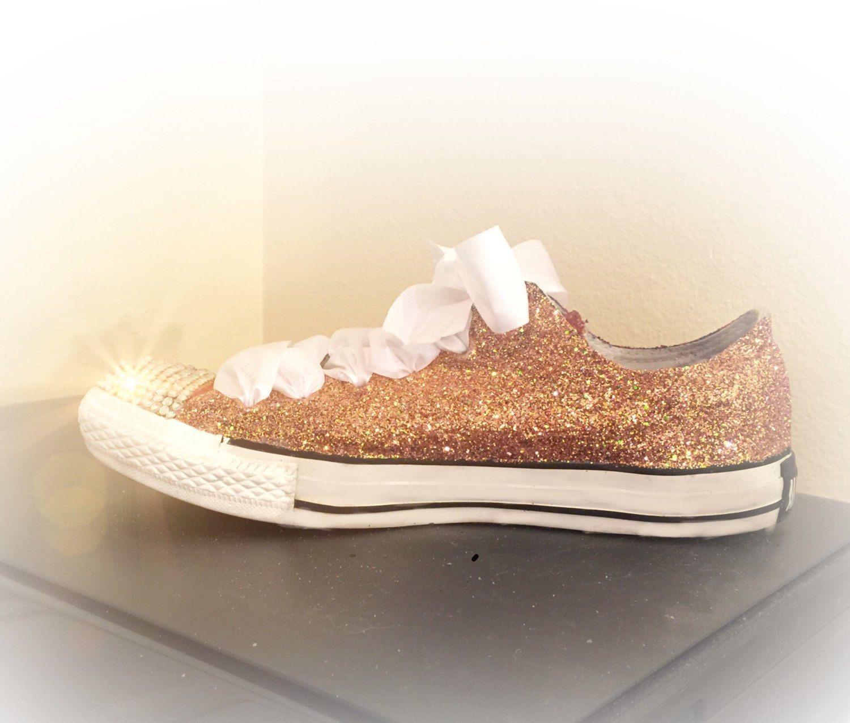 womens rose gold sparkly glitter converse all star chucks
