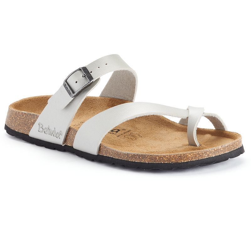 The New  Betula Licensed by Birkenstock Mia Women's Footbed Thong Sandals Silver