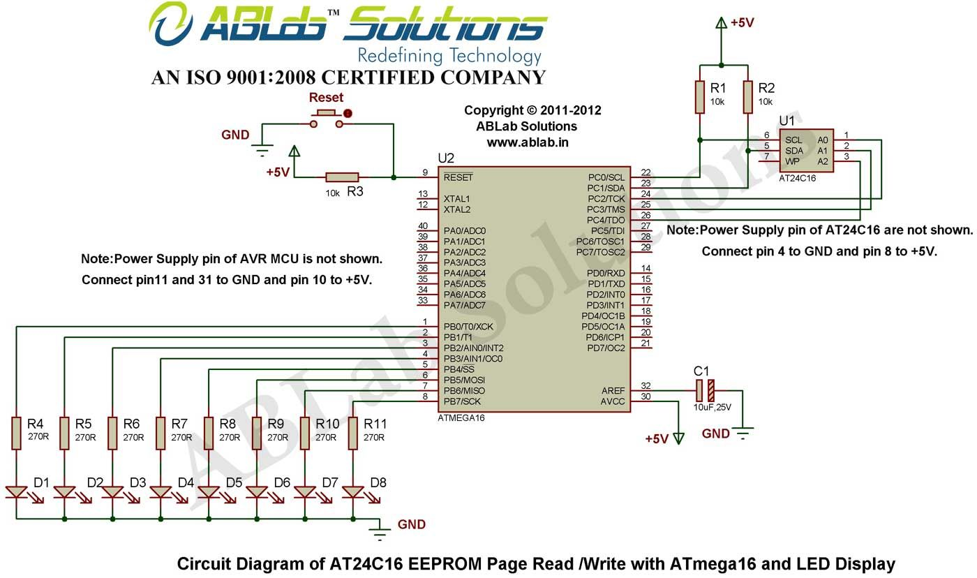 at24c16 eeprom page read write with avr atmega16 microcontroller and led display circuit diagram [ 1400 x 828 Pixel ]