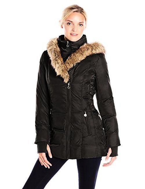 Betsey Johnson Women S Mid Length Puffer Coat W Faux Fur Hood