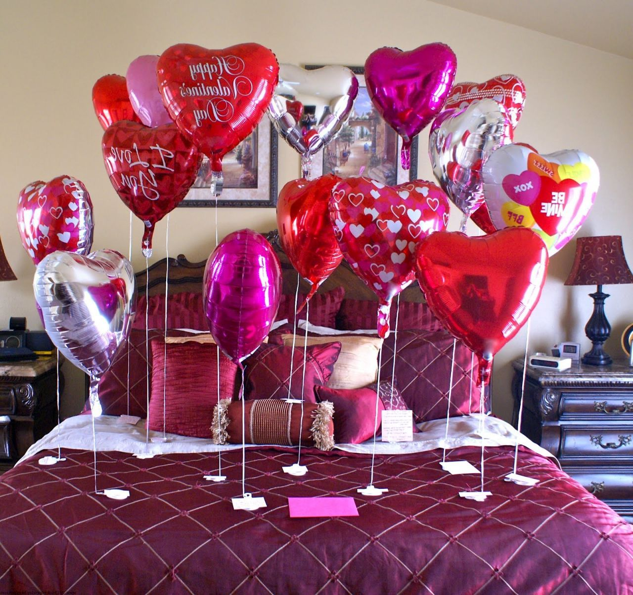 Bed Room Decoration With Heart Shape Balloons And Valentine Decor And Also Valentines  Day Decorations