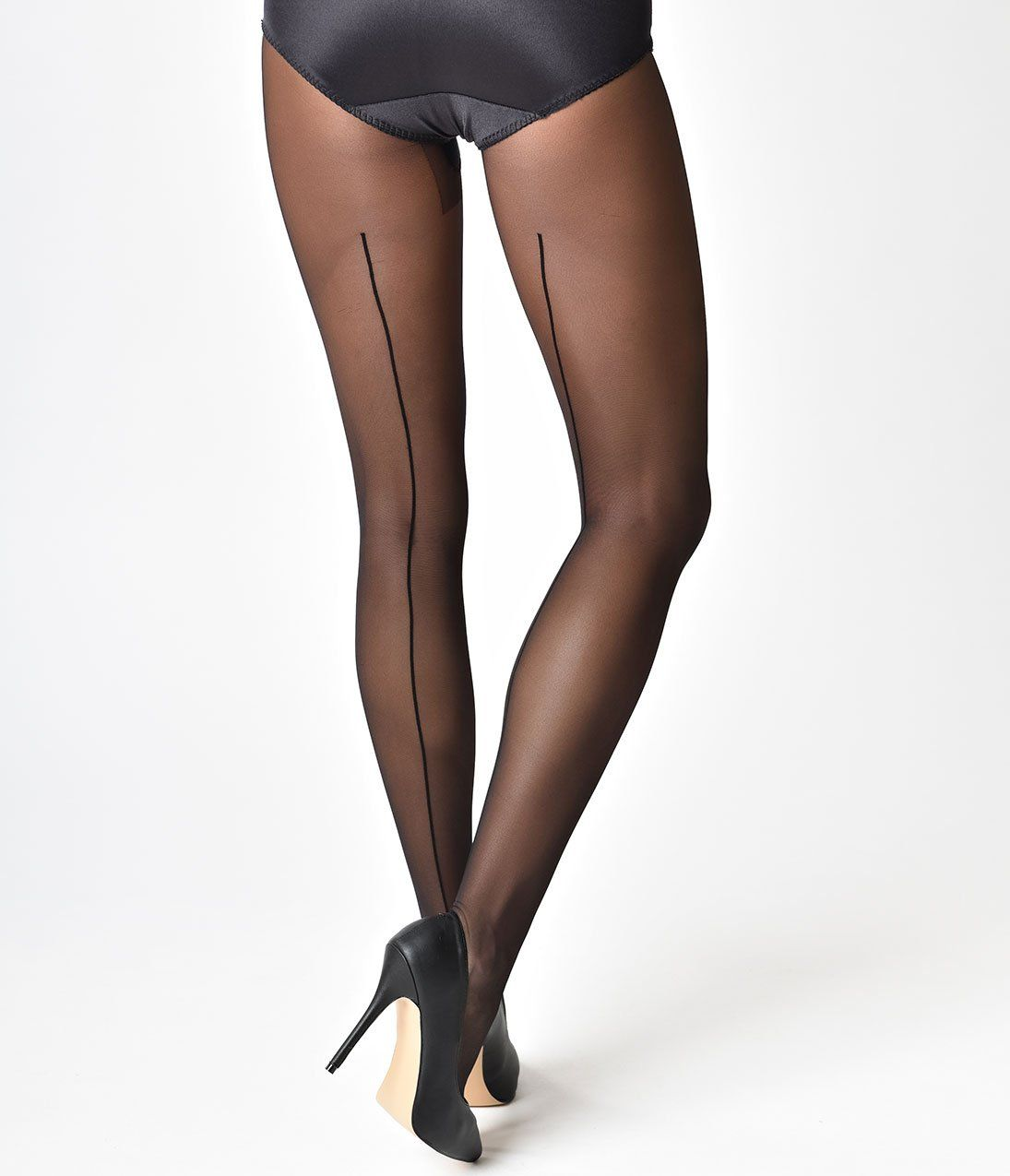 452bf552694 What Katie Did Retro Style Black Seamed Pantyhose