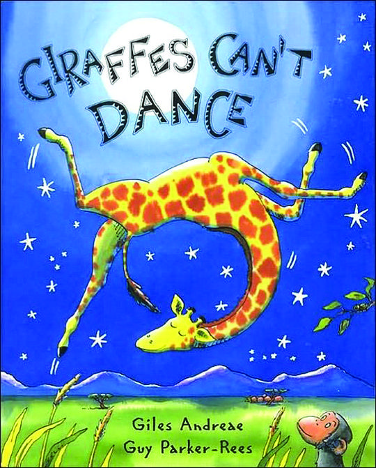 Picture Book Giraffes Can't Dance Written by Giles Andreae / Illustrated by Guy Parker-Rees You may not have known this, but giraffes can't dance. Well, at least Gerald the giraffe can't, and he's having a tough time of it, especially during the annual Jungle Dance where the other animals laugh and tease him. But, with the help from an insightful cricket and his fiddle, Gerald and the reader learn about being yourself and following your dreams.