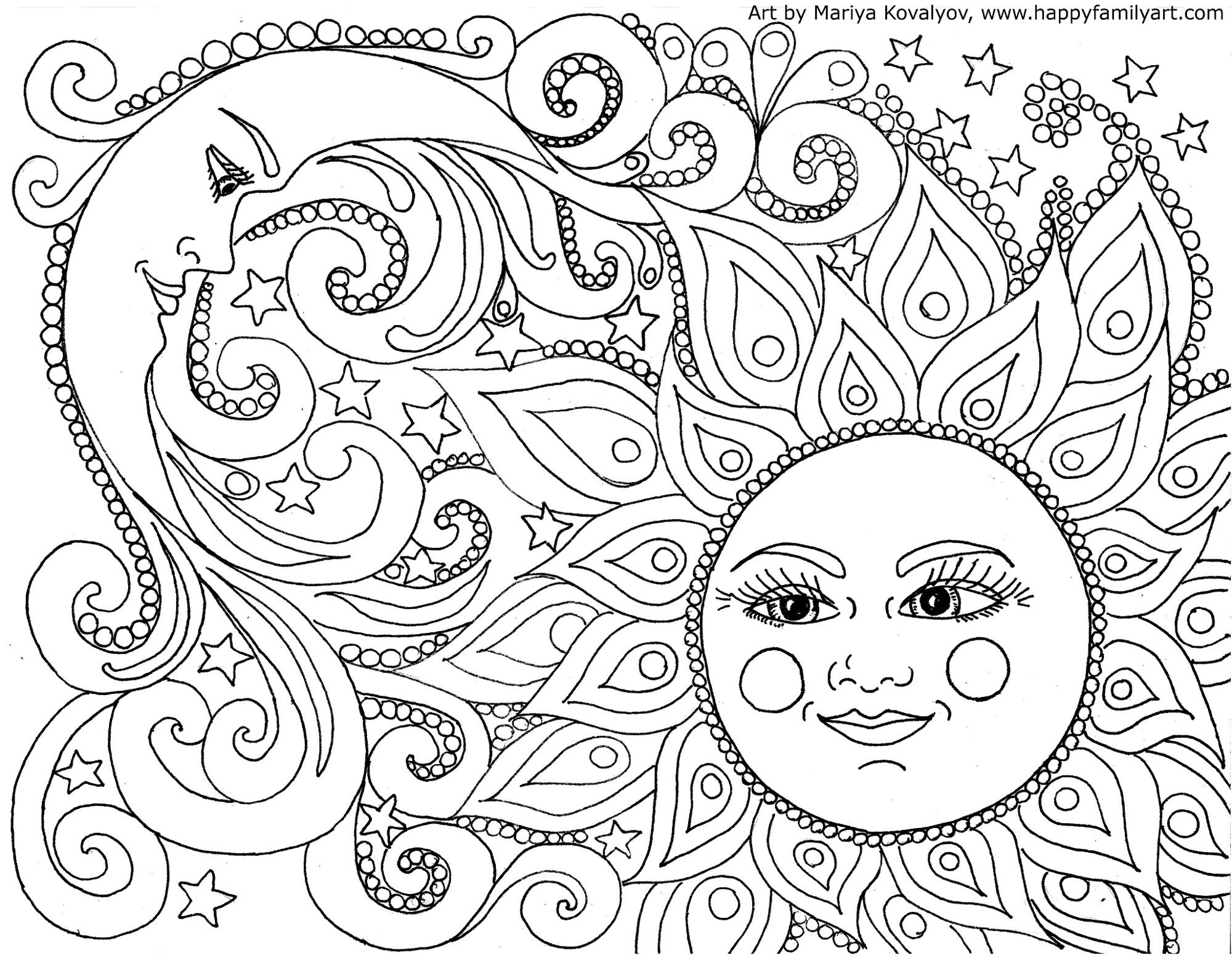 Free coloring in pages - Sun And Moon Coloring Pages Adult