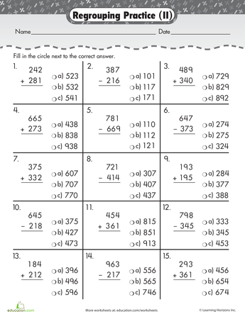 Triple Digits Digit Addition  Subtraction  Worksheets Math