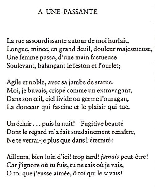 A Une Passante To A Passer By Charles Baudelaire Baudelaire Words Poetry Quotes