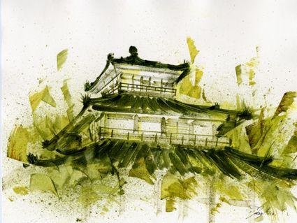 Temple Japonais Temple Japonais Paysage Aquarelle Et Aquarelle