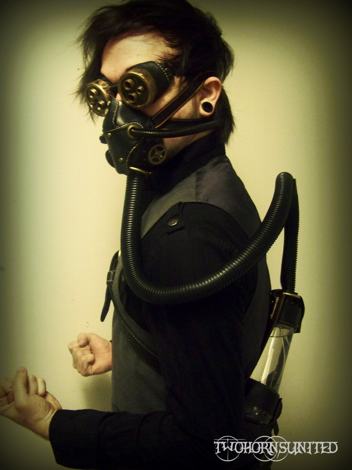 Hydropunk Steampunk victorian respirator gas mask and goggles set ...