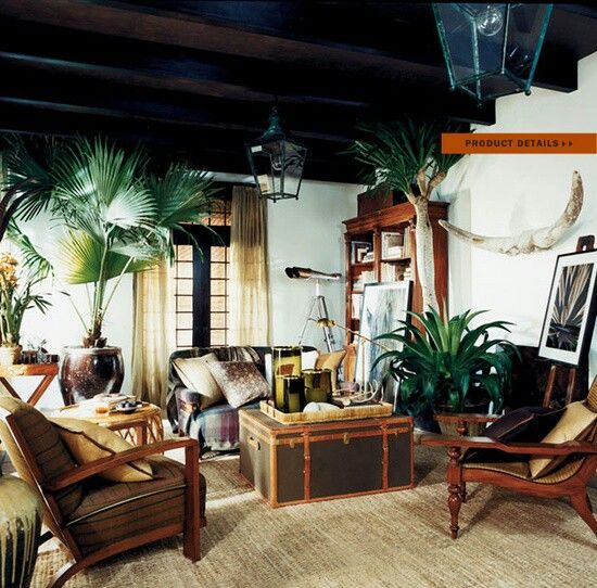 Tropical Living Room Dark Wood British Colonial Decor