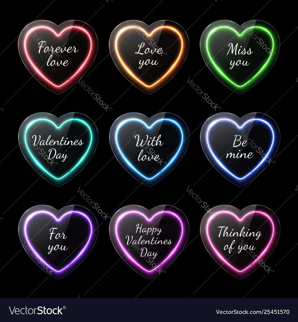 Colorful neon heart banners set with romantic text ,