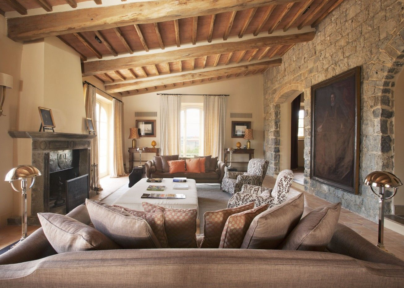 Best 10 Stunning Tuscan Living Room Designs : Contemporary Tuscan Style  Living Room Decoration With Brown Fabric Sofa And Half Nature Stone Wall  Also White ...