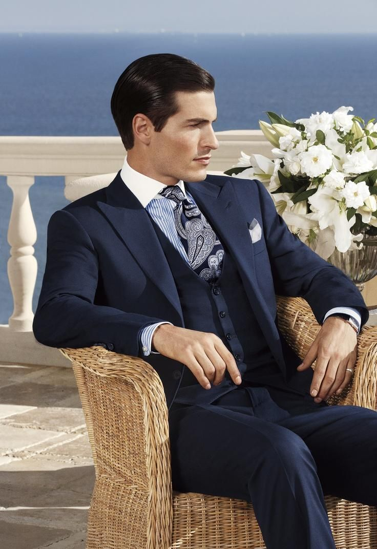 Click to buy ucuc fashion style one button navy blue groom tuxedos