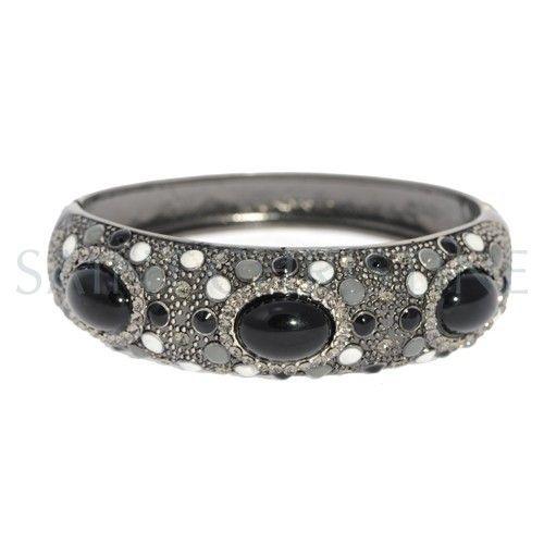Vintage Black Crystal with Shining Rhinestones Bangle