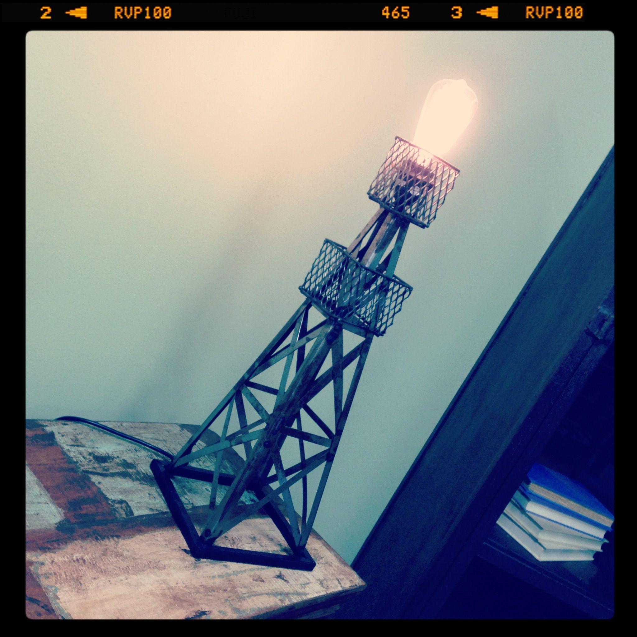 Oil Derrick Table Lamp Distressed Vintage Import Unique ...