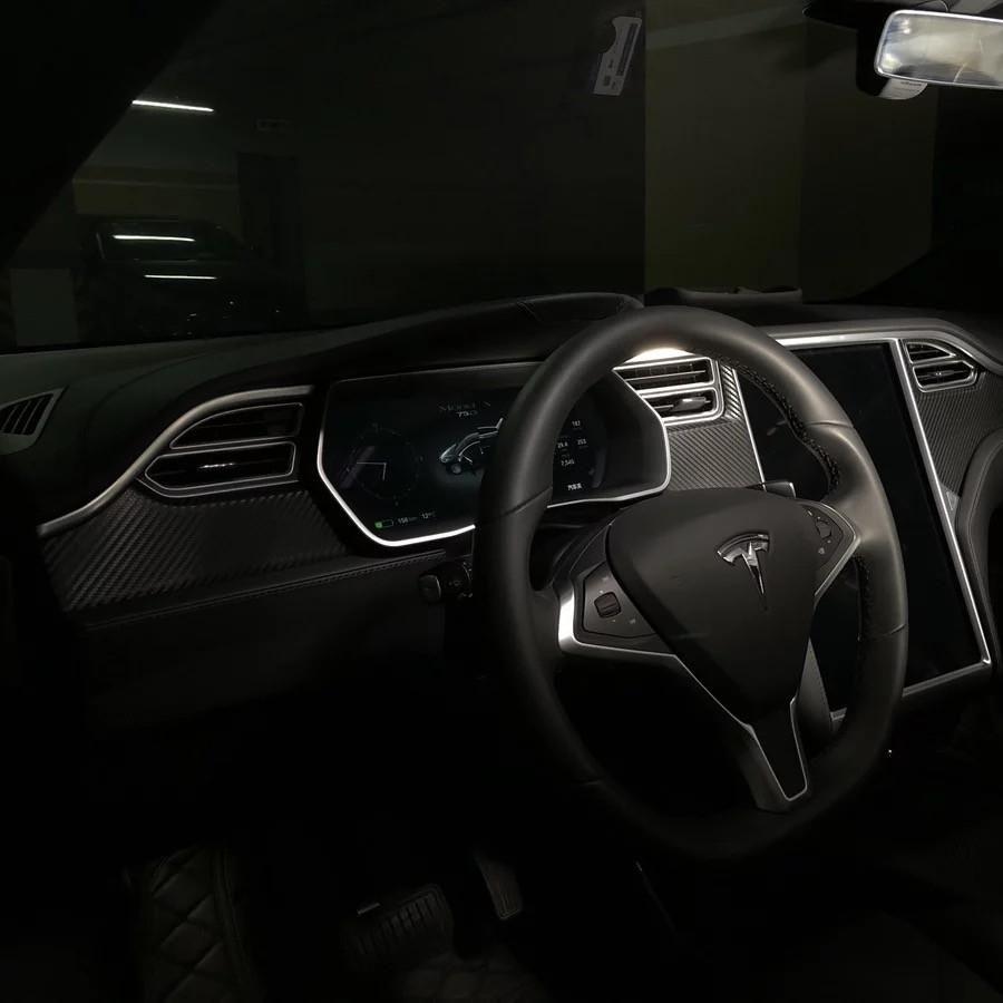 Tesla Model S Decal Carbon Fiber Black