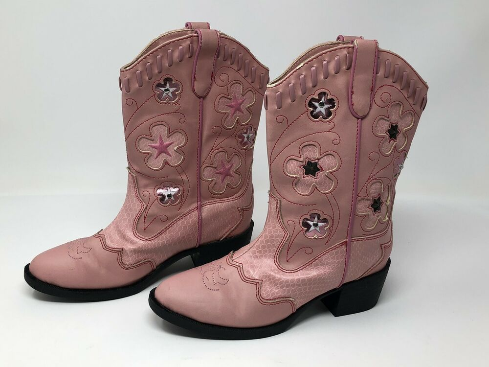 c2c47554ffe Roper Kids Girls Size 1 Shoes Boots Light-Up Cowgirl Stars Flowers ...