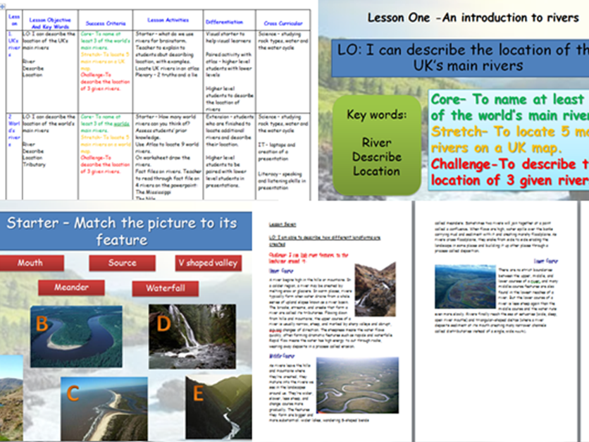 Rivers Sow Ks3 Geography Gcse Geography Geography Teaching Resources