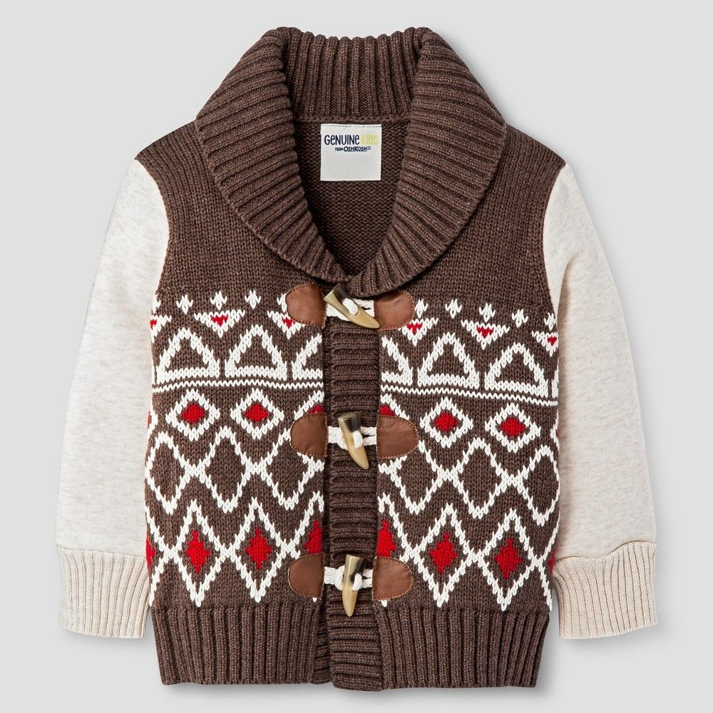 Baby Boys' Cardigan - Brown 12 M - Genuine Kids from Oshkosh, Infant Boy's, Size: 12 Months