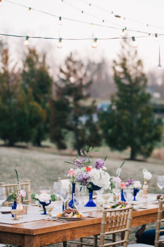 An eclectic, outdoors wedding styled shoot in Virginia with royal blue, gold & glitter. Images by A Muse Photography. Styled by Amore Events.