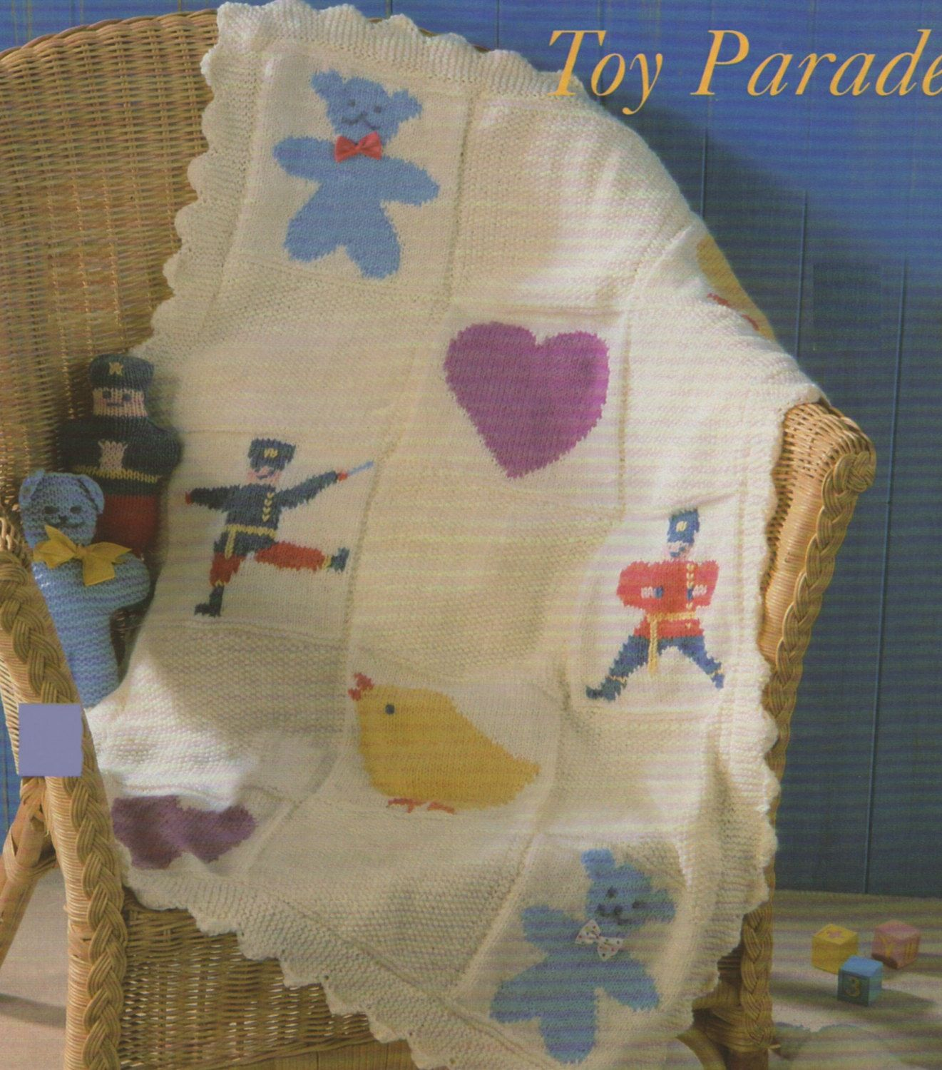 Baby Motif Blanket PDF Knitting Pattern with Toy Soldier, Duck and ...
