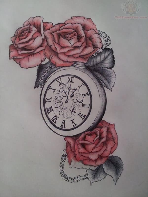 Clock And Red Roses Tattoo Design Watch Tattoos Clock Tattoo Rose Tattoos
