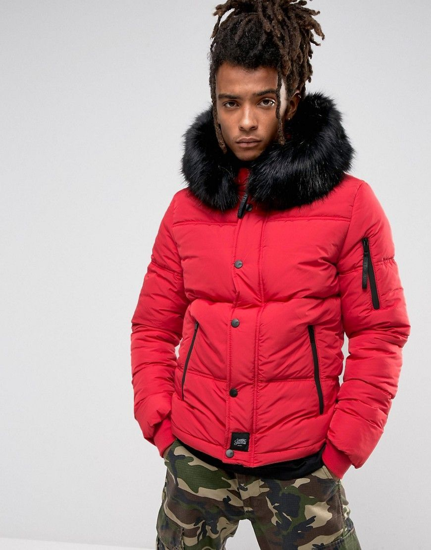 Sixth June Puffer Jacket In Red With Black Fur Hood Red