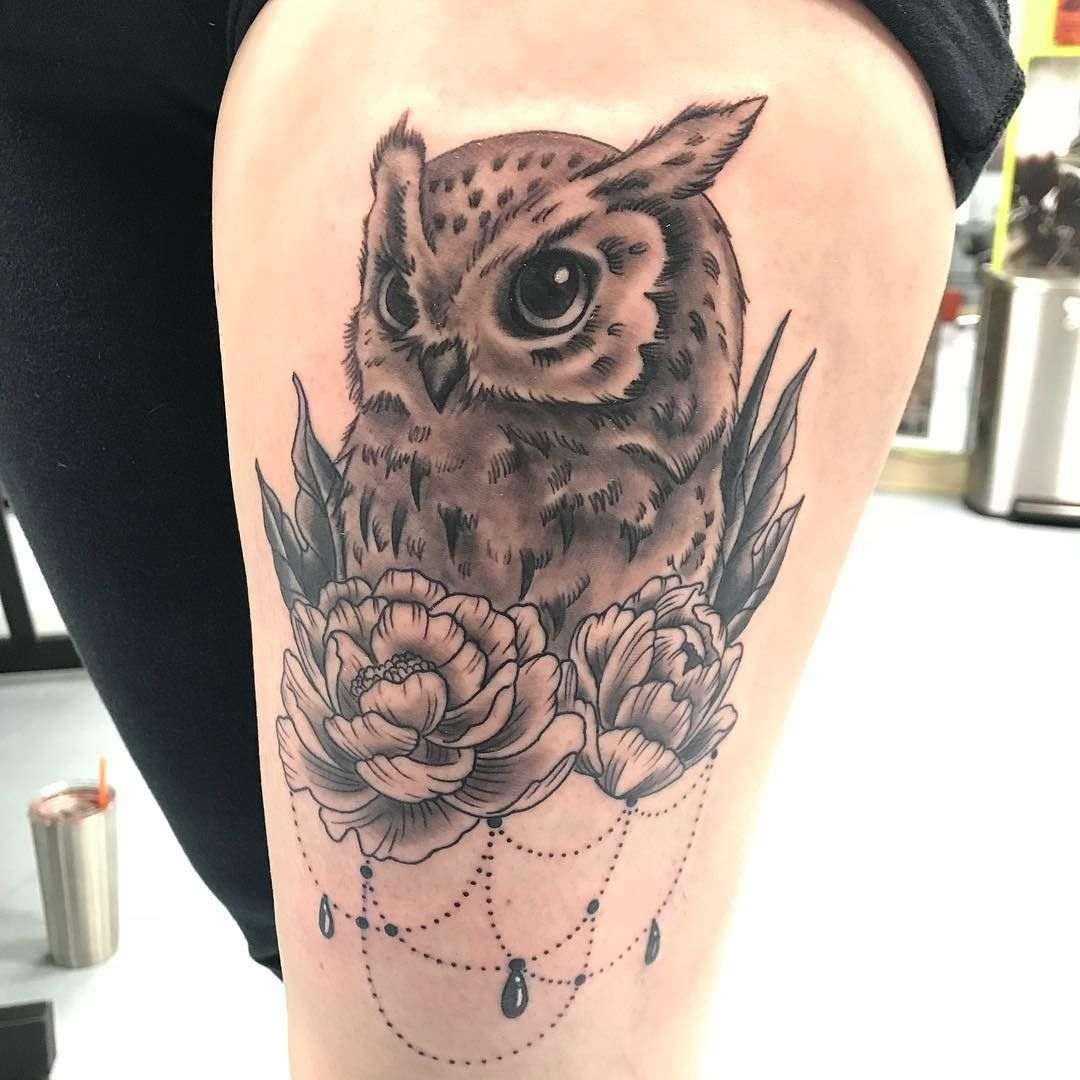 Owl And Flower Picture Tattoos Leg Tattoos Owl Thigh Tattoos