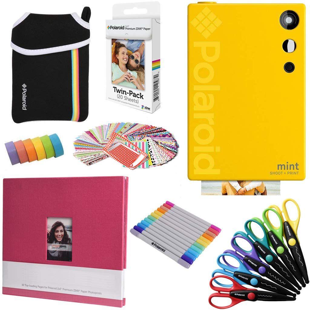 Polaroid Mint Instant Digital Camera Yellow Art Bundle Paper 20 Sheets 8x8 Cloth Scrapbook Pouch 12 Twin Tip Mark Art Bundle Glue Crafts Yellow Art