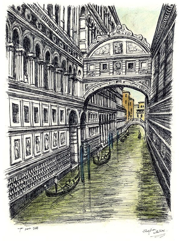 Line Drawing Venice : Bridge of sighs in venice originals and prints by