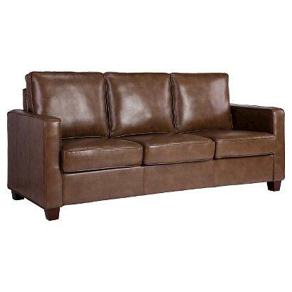 Threshold Trade Square Arm Bonded Leather Sofa Chocolate Faux