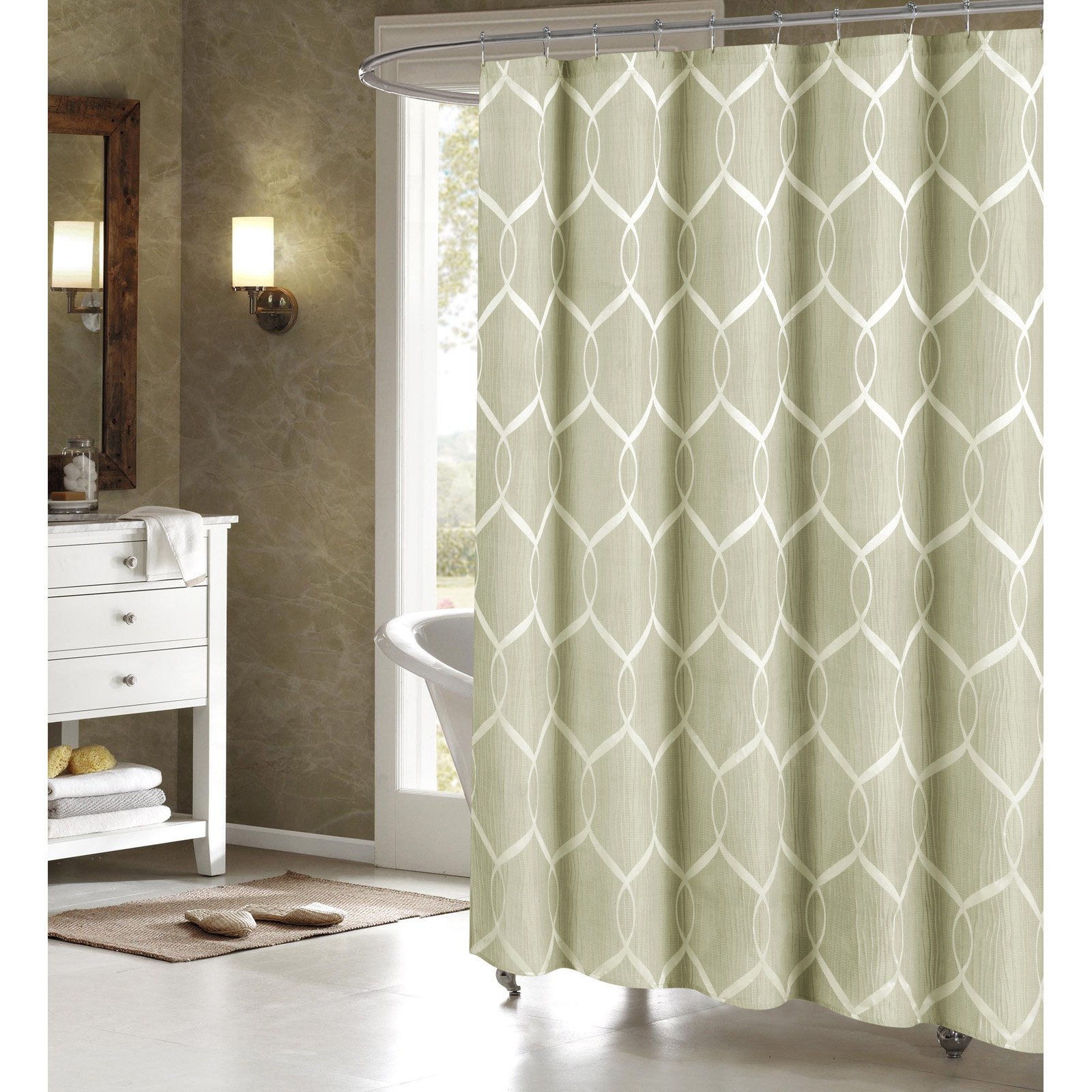 Duck River Quey Wrinkle Wave Fabric Shower Curtain Sage Fabric