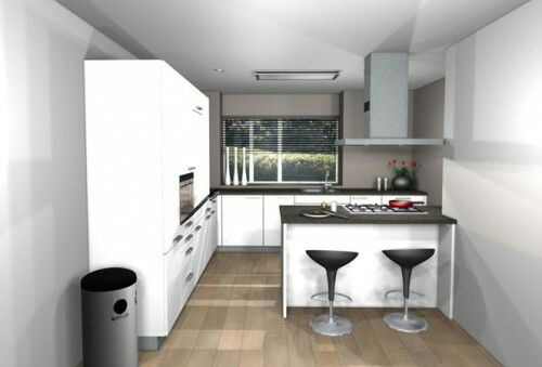 Kleine keuken met kookeiland home pinterest kleine keuken keuken en keukens - Kleine keuken met eethoek ...