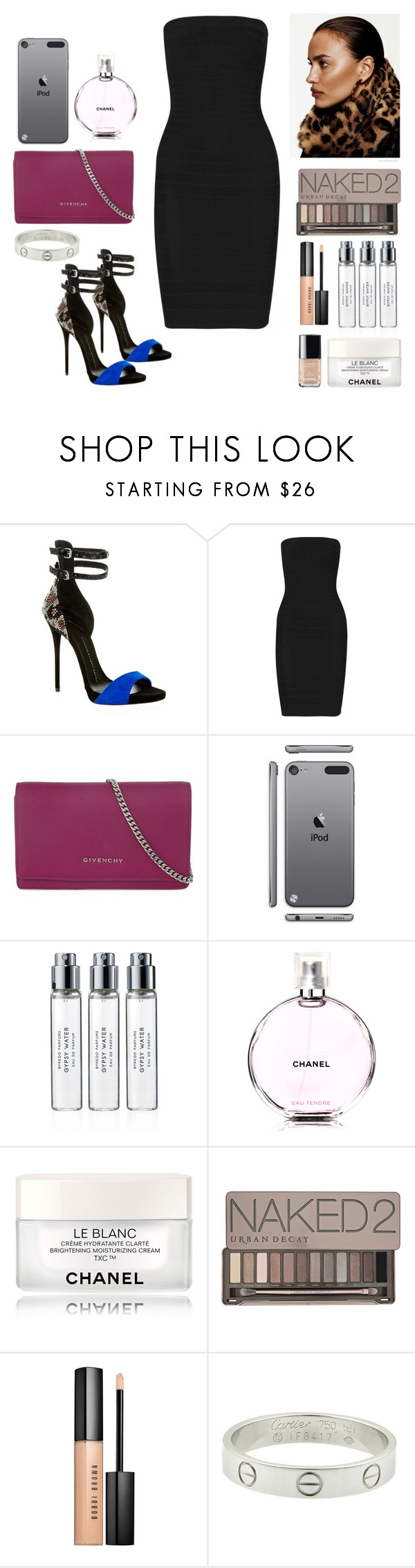 """""""dinner time #colombia#vocations"""" by pimargarida ❤ liked on Polyvore featuring Giuseppe Zanotti, Hervé Léger, Givenchy, Chanel, Byredo, Urban Decay, Bobbi Brown Cosmetics and Cartier"""