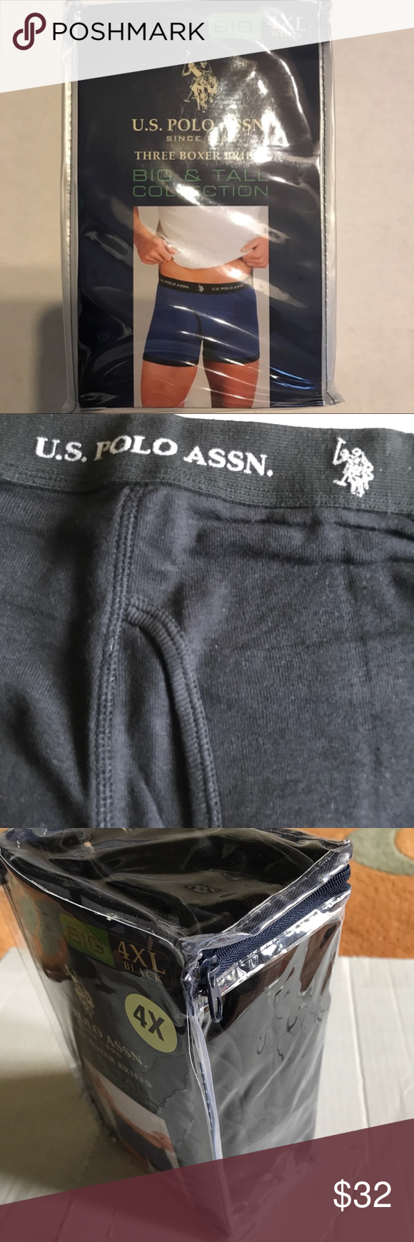 d9c1a194ec3e U. S. Polo Assn. Big & Tall Boxer Briefs 2XL,4XL U. S. Polo Assn. Big 2XL  or 4XL size Mens Black Boxer Briefs. 100% cotton. See photo of size chart. 3  pair ...