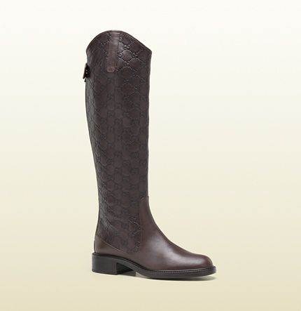 76e9e233 GUCCI - maud brown leather tall flat boot - comes in 3 variations ...