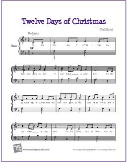graphic relating to Free Printable Christmas Sheet Music for Piano titled 12 Times of Xmas Piano Xmas Tunes