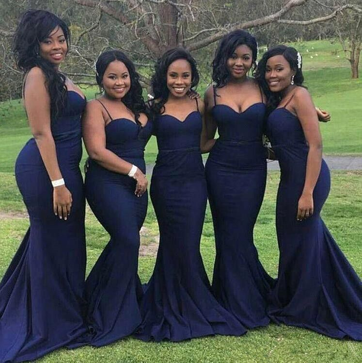 Navy Blau Brautjungfernkleider Lang Günstig Meerjungfrau Chiffon Kleider für Brautjungfern