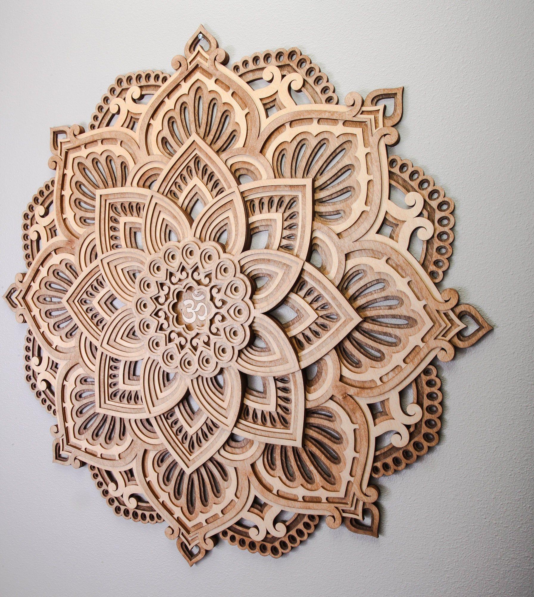 Om Wood Mandala Wall Art Mandala Wall Decoration Round Circle