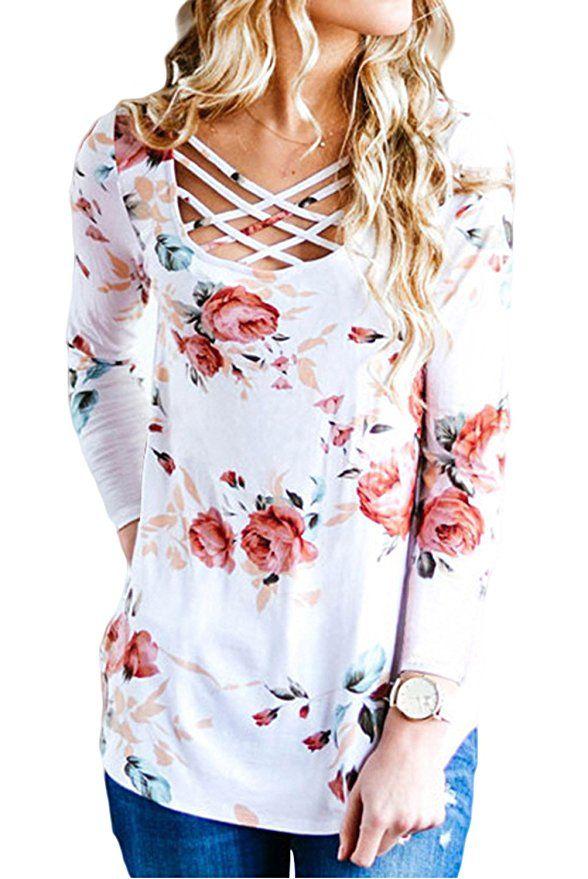 EIFFTER Women Floral Print T Shirt Casual Long Sleeve Crisscross Front V  Neck Blouse Top |