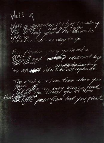 Wake up Mad season Lyrics Handwritten by Layne Staley
