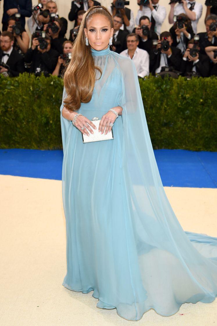 Jennifer Lopez Caped Blue Evening Dress 2017 Met Gala TCD7223 | Rei ...
