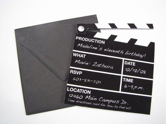 Hollywood Director\u0027s Clapper Board Movie Themed Invitation