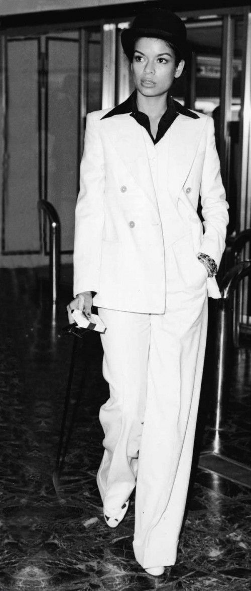 """Nicaraguan fashion icon and Human Rights Advocate BIANCA JAGGER wearing YSL """"Le Smoking"""" outfit, 1974"""