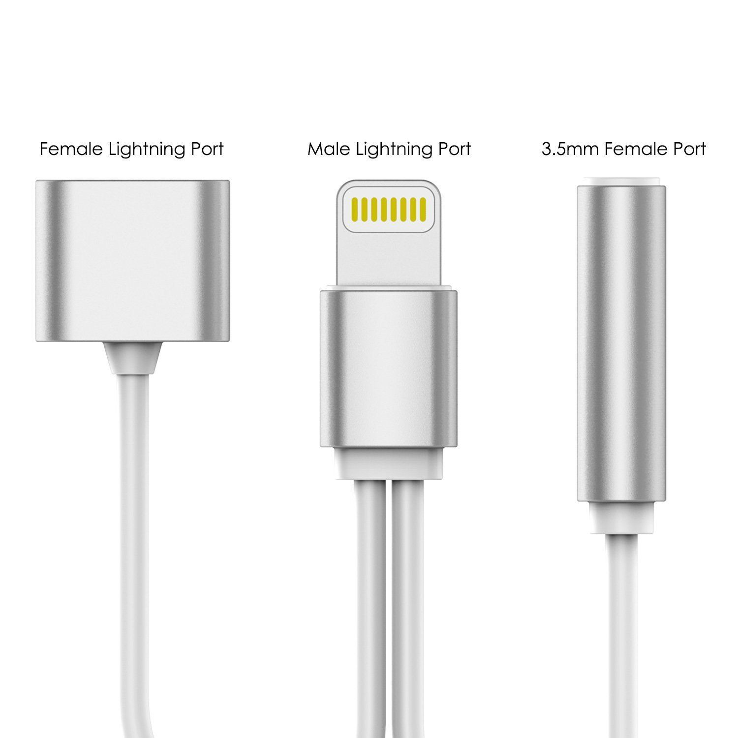 PUNKZAP Lightning Adapter Cable 2 in 1 Splitter Charger with 3.5mm ...