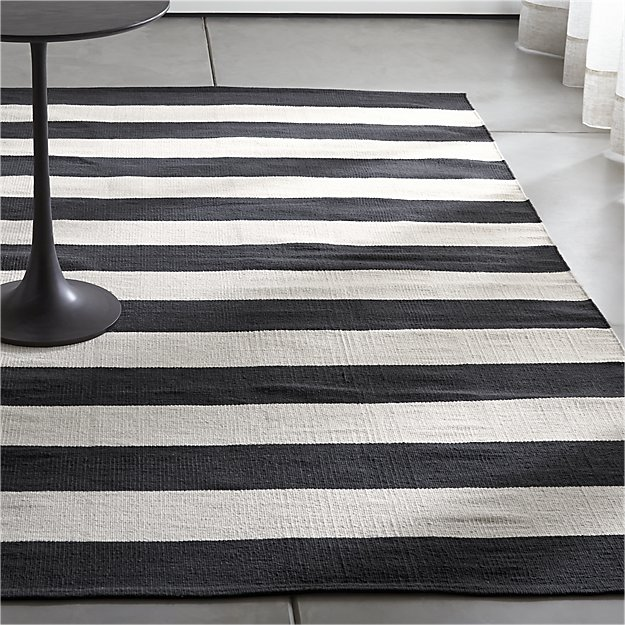 Shop Olin Black Striped Cotton Dhurrie 5x8 Rug Broad Bands Of