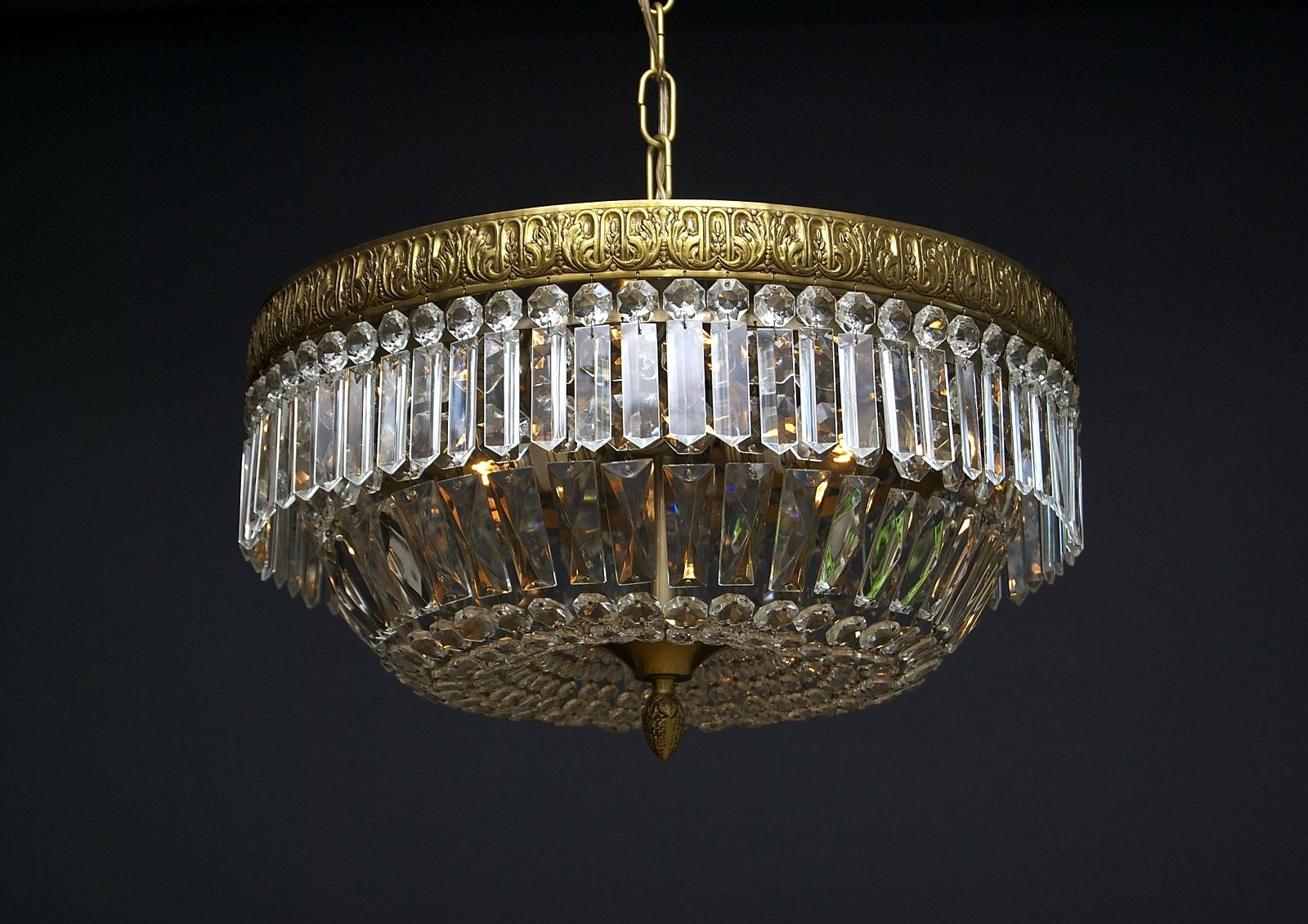 Kristallen Plafonniere : Grote kristallen plafonnière met 4 lichtpunten lamps