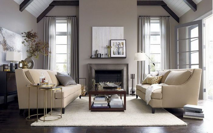 Cream Double Sofas In Small Simple Living Room Jpg 700 439 Small Living Room Design Small Living Rooms Room Interior