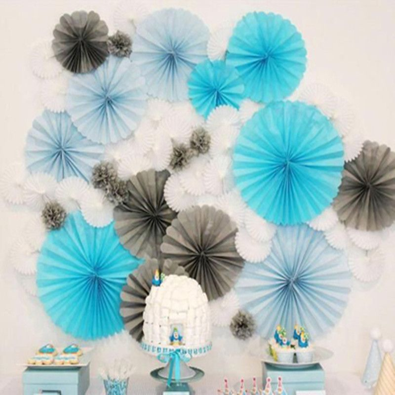 6pcs 20cm 8inch Single Layer Paper Fans Wedding Backdrop Reception Decoration Frozen Party