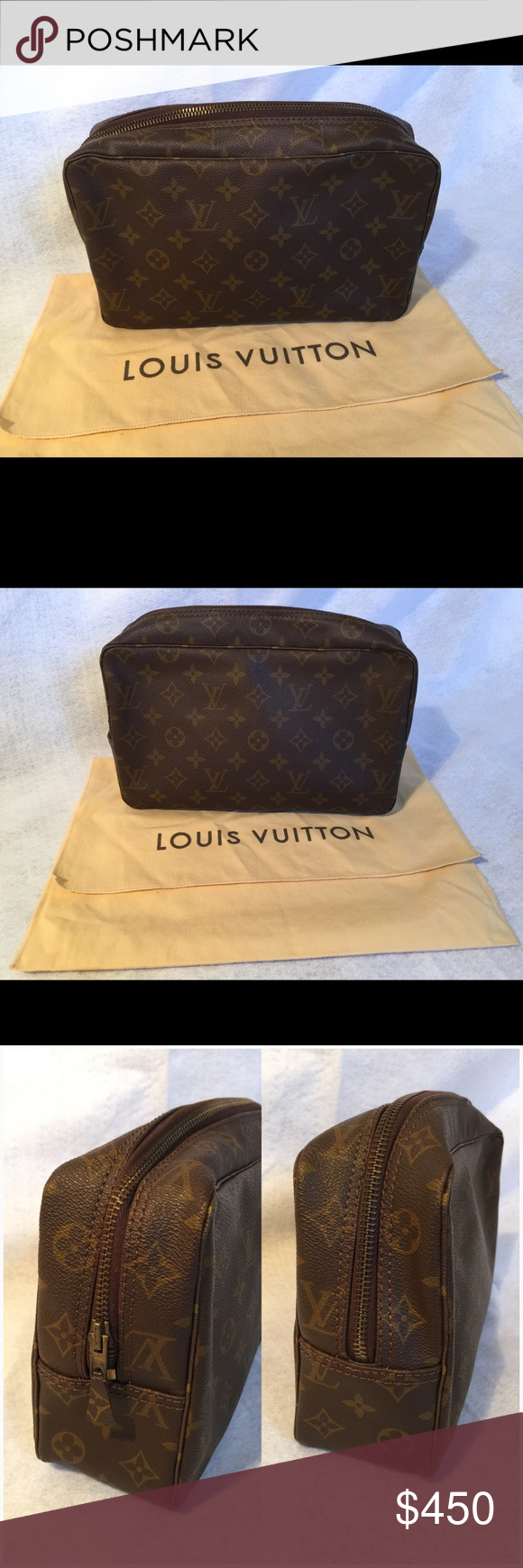 Authentic Vintage Louis Vuitton Cosmetic bag Pre owned Auth Vintage LOUIS  VUITTON Monogram Trousse Toilette 28 d514cfa963386
